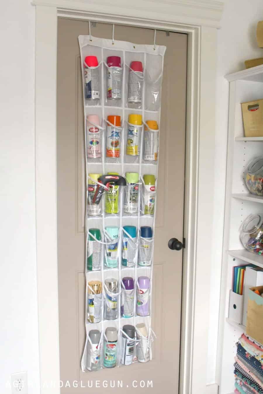 closet craft room--spray paint storage