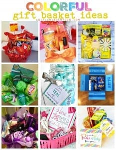 Colorful gift basket ideas!