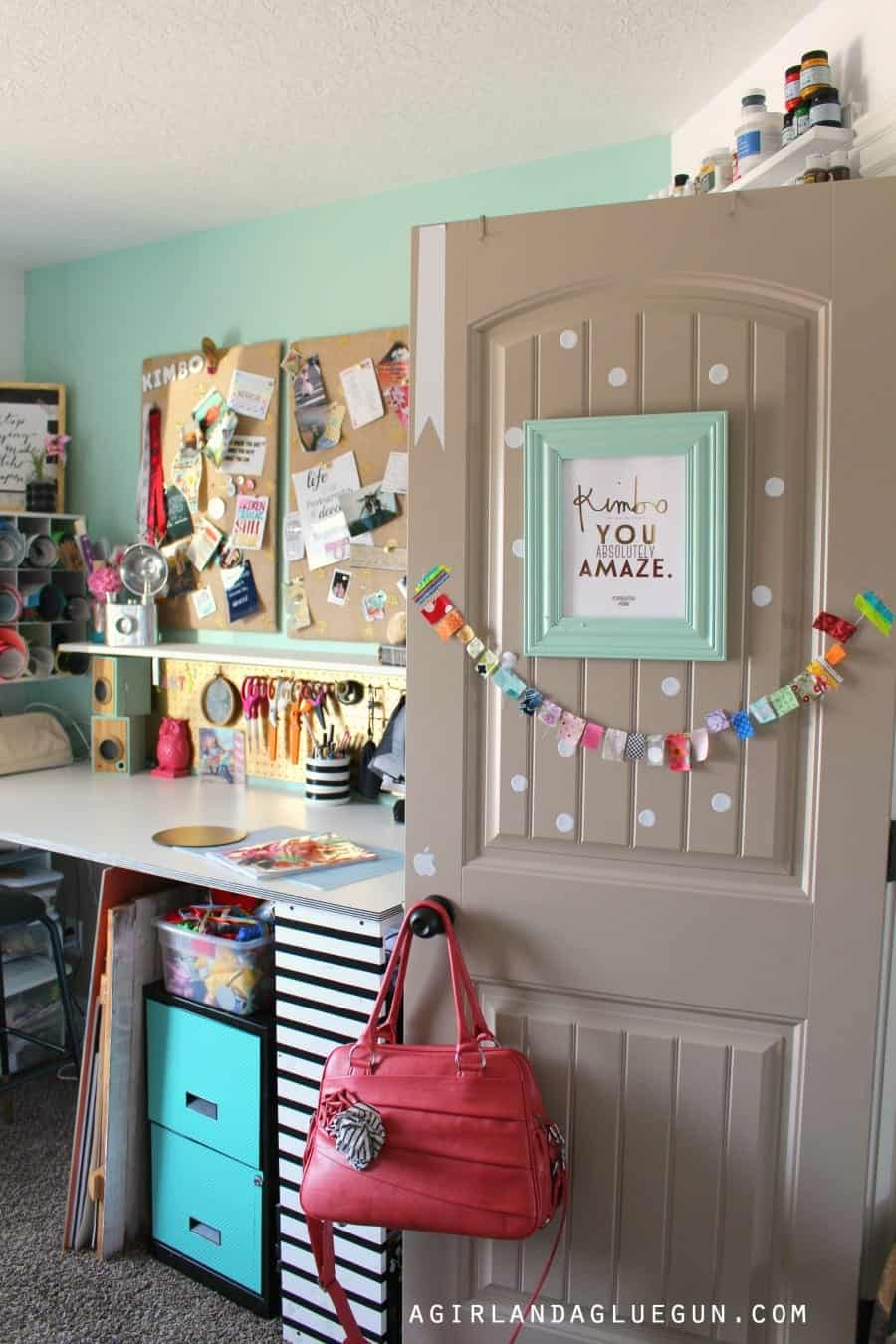 ... door of craft room & craft room tour! - A girl and a glue gun