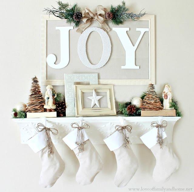 joy christmas mantel 1