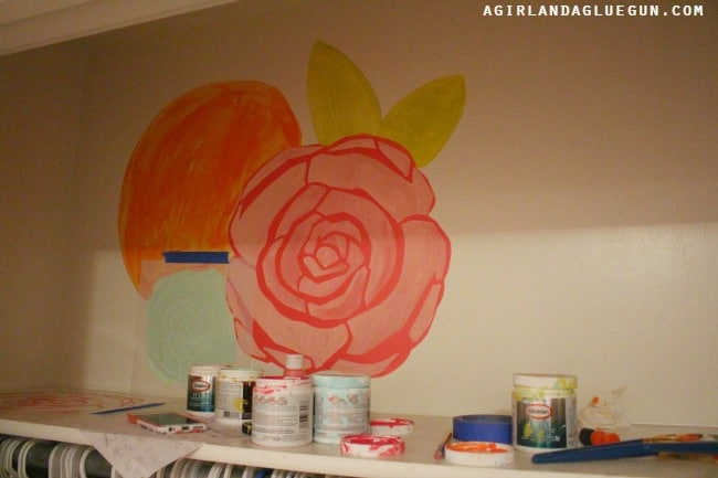 layering stenciled flowers