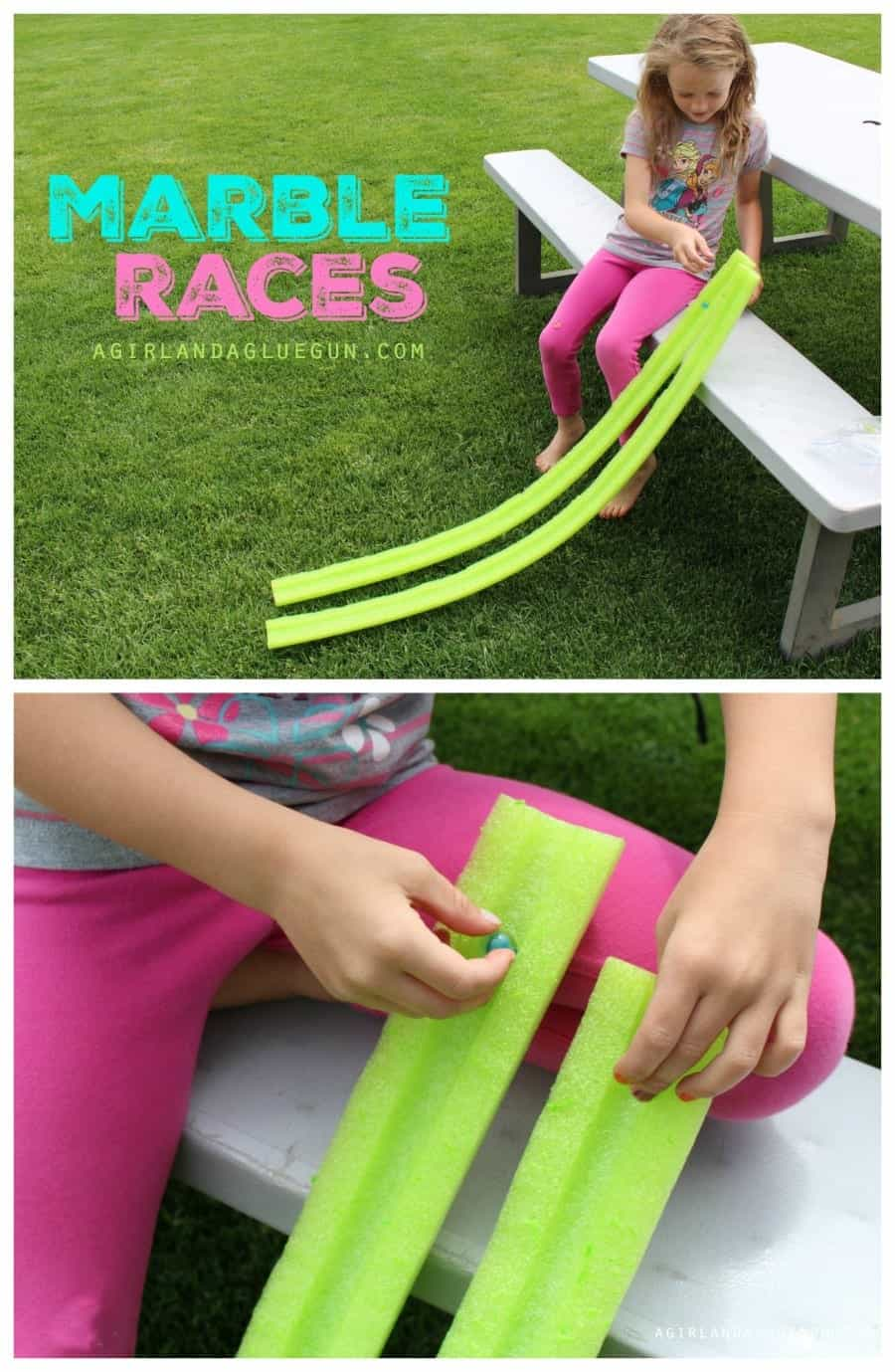 marble races using a pool noodle