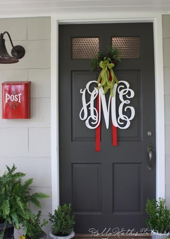 Monogram Monogramfrontdoor1 Giant Snowflake Door Hanger Christmas Wreaths A And Glue Gun