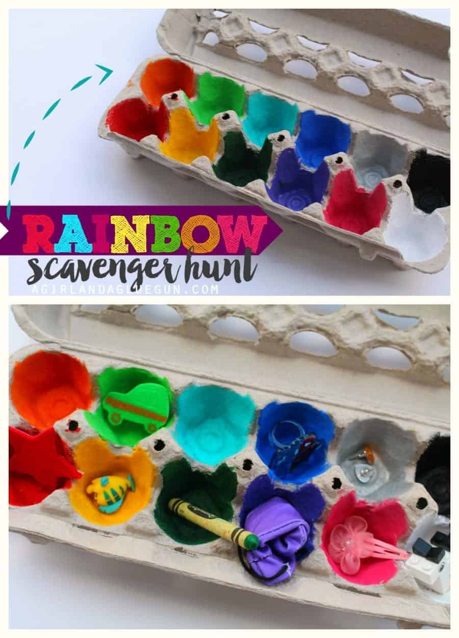 rainbow scavenger hunt out of an egg carton