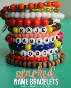 Stacked name bracelets-