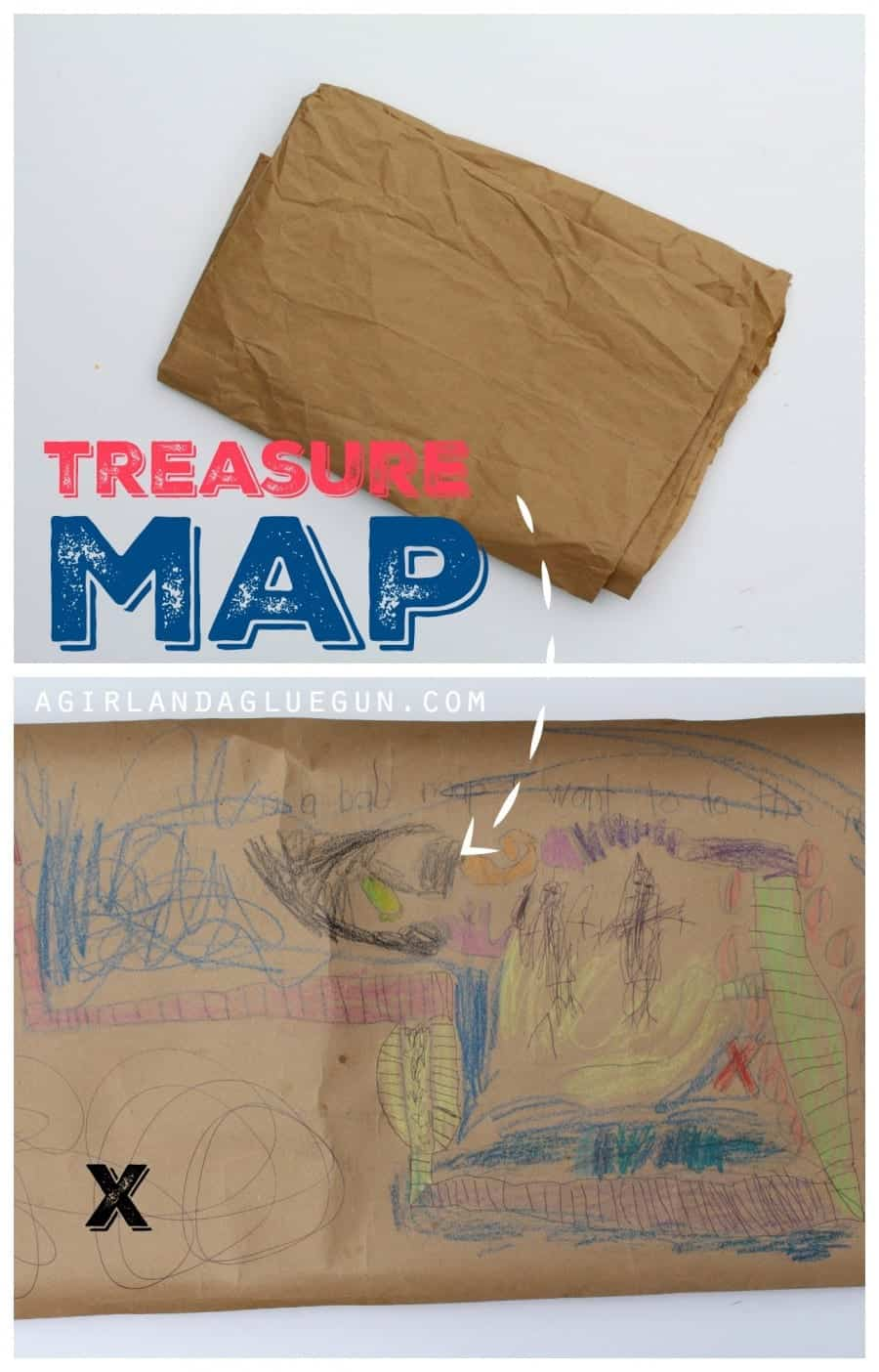 treasure map from brown paper sack