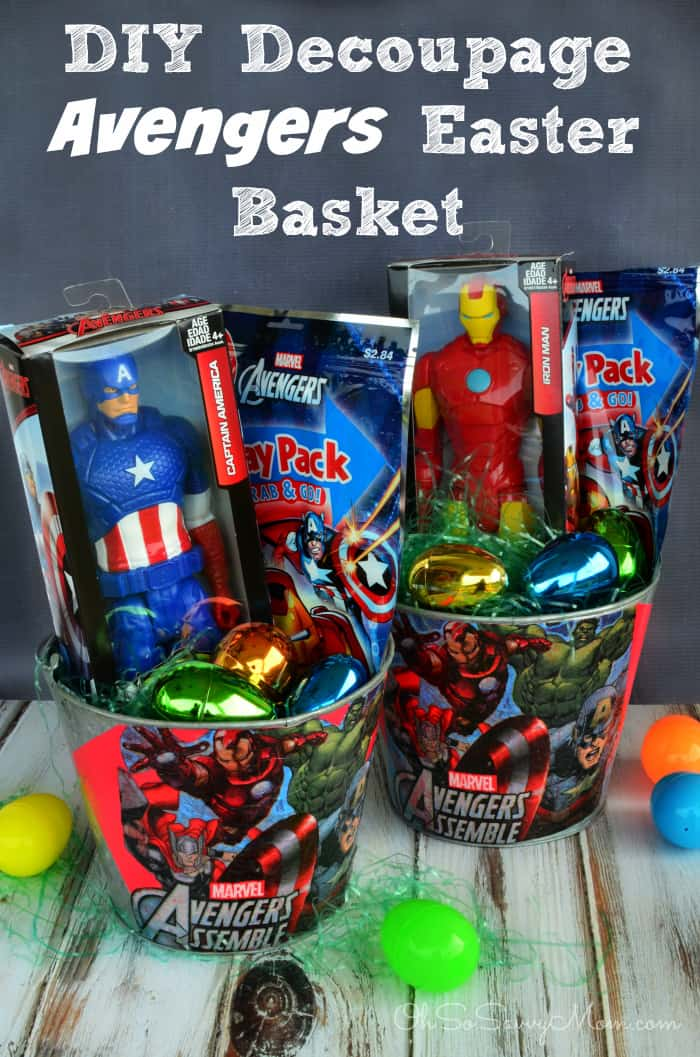 Easter basket roundup a girl and a glue gun decoupage diy avengers easter basket negle Gallery