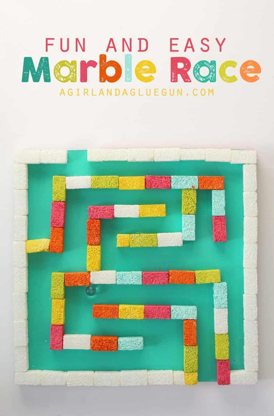 Make this adorable colorful marble race! Make it extra hard or easy! Kids love playing it!