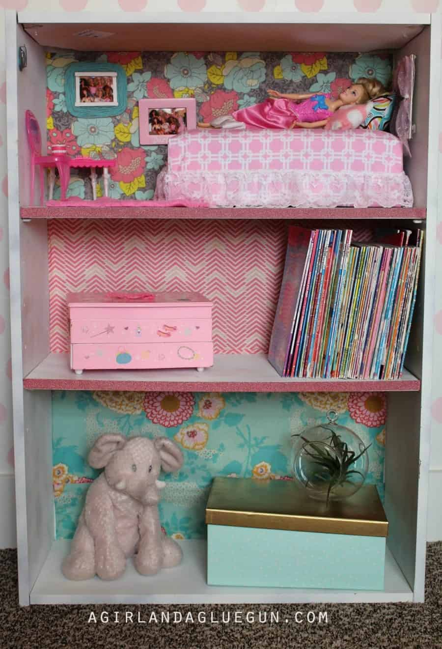 fabric packed book shelf