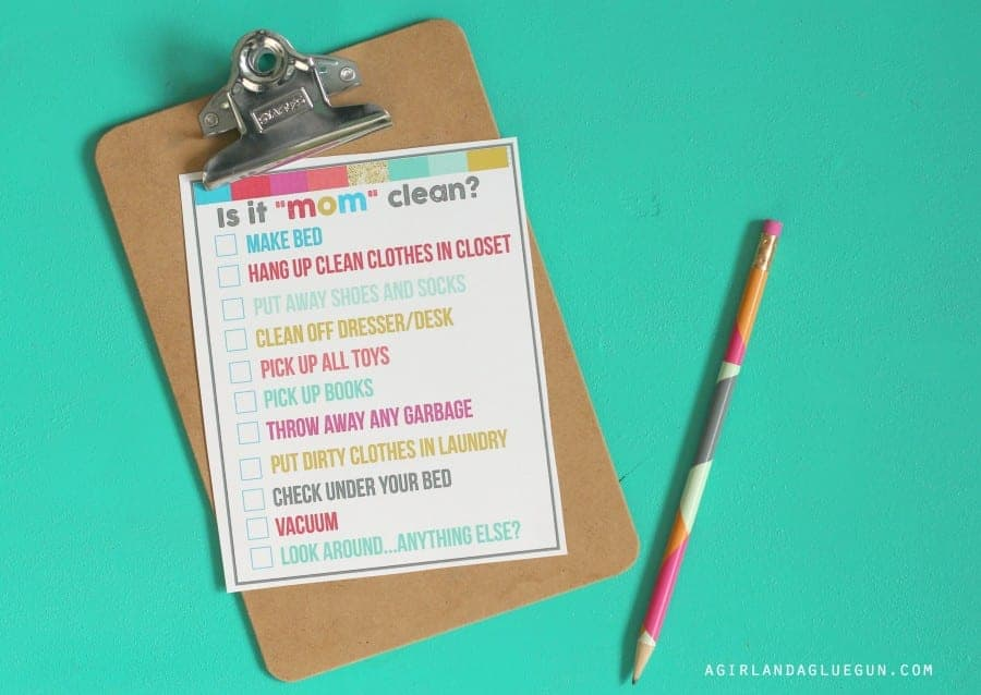 free cleaning printable for kids
