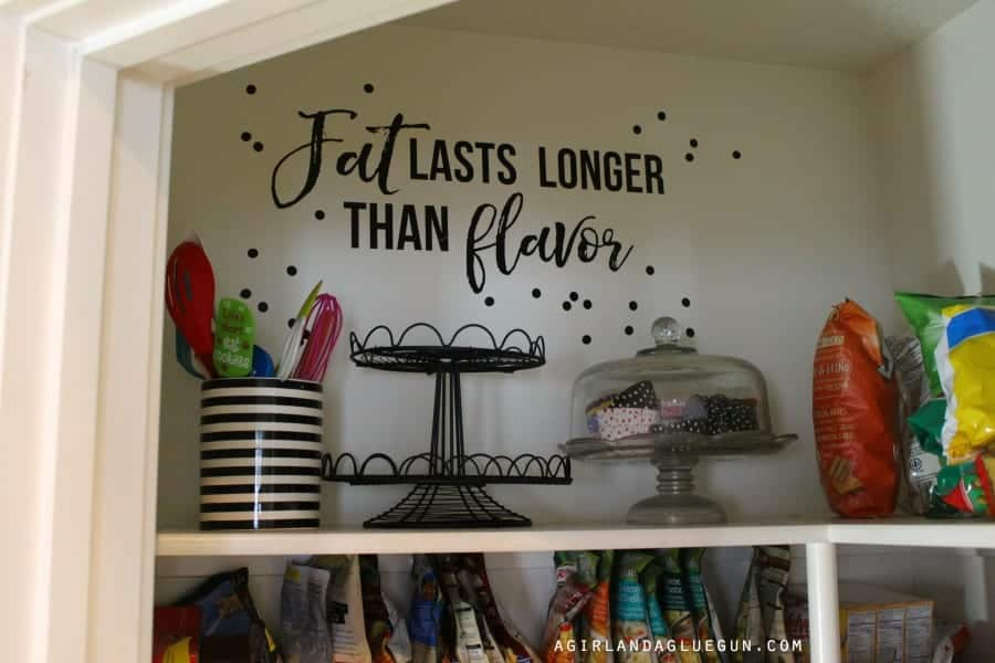 inspirational quote in the pantry