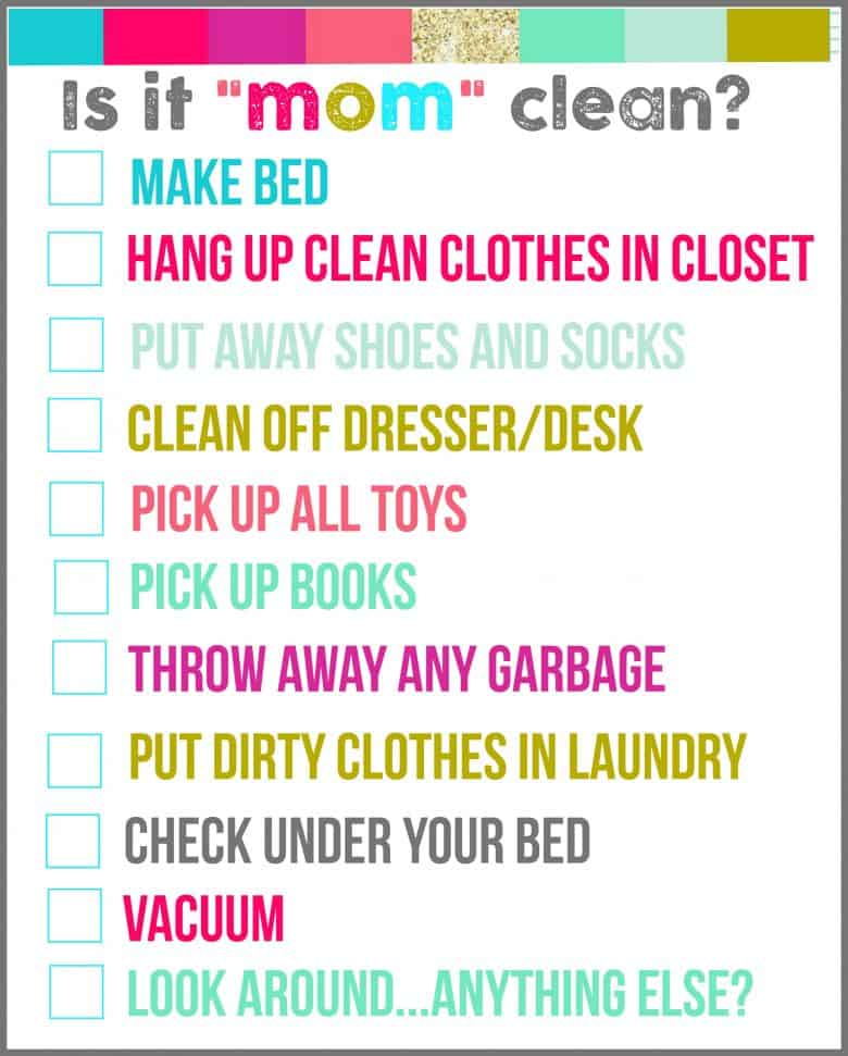 Is It Quot Mom Quot Clean Bedroom Checklist Printables A Girl