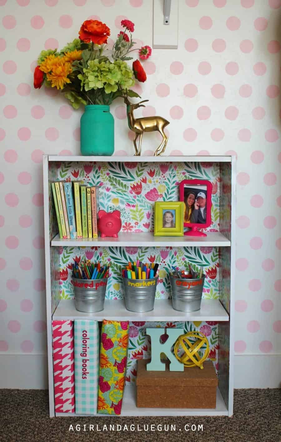 wrapping paper backed bookcase