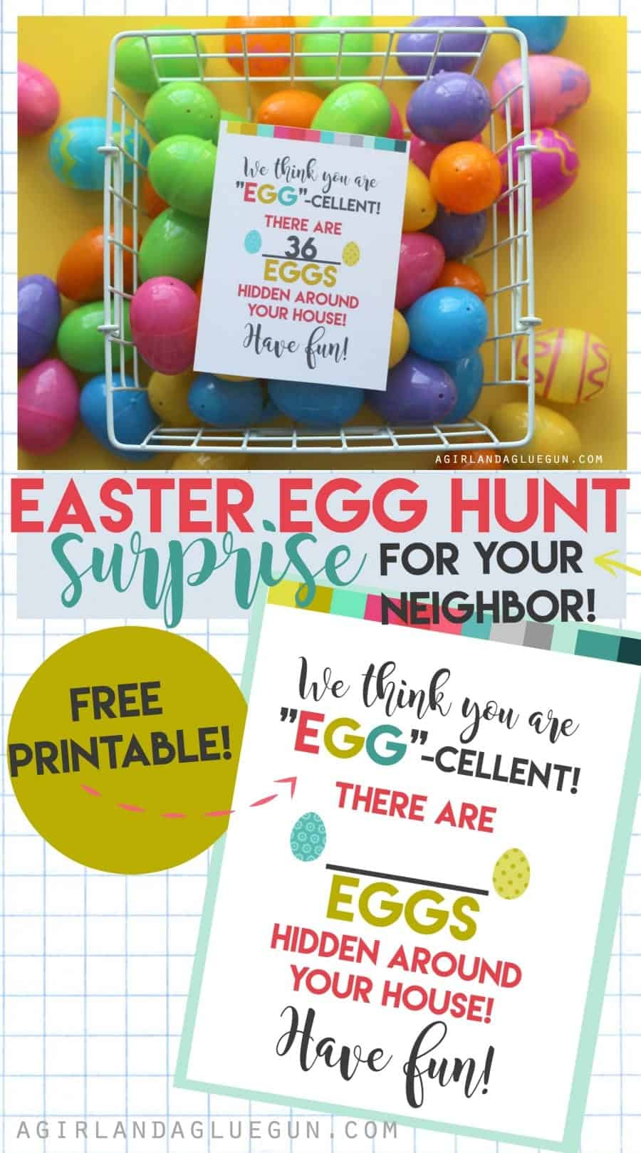 Easter egg hunt surprise for your neighbor. such a fun idea!--with free printable