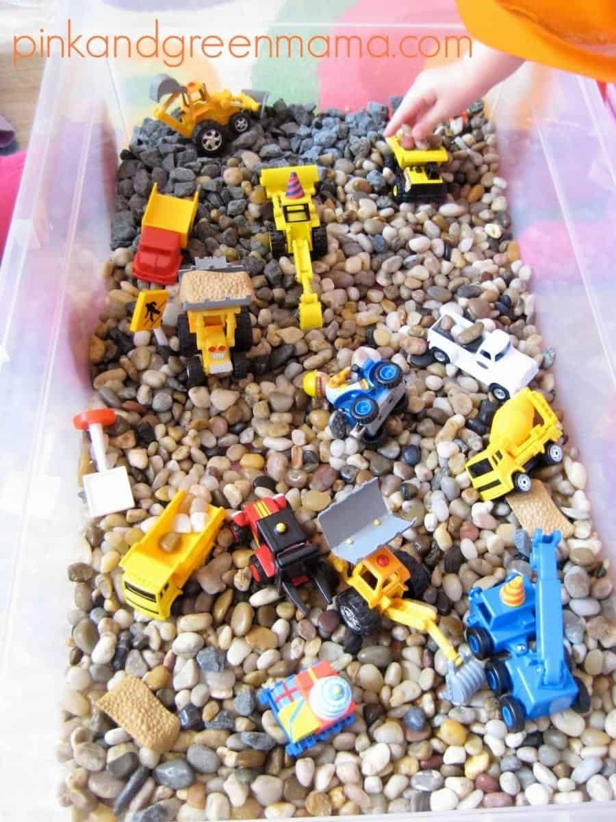 Gravel and Trucks Construction Sensory Box from PinkandGreenMama.com