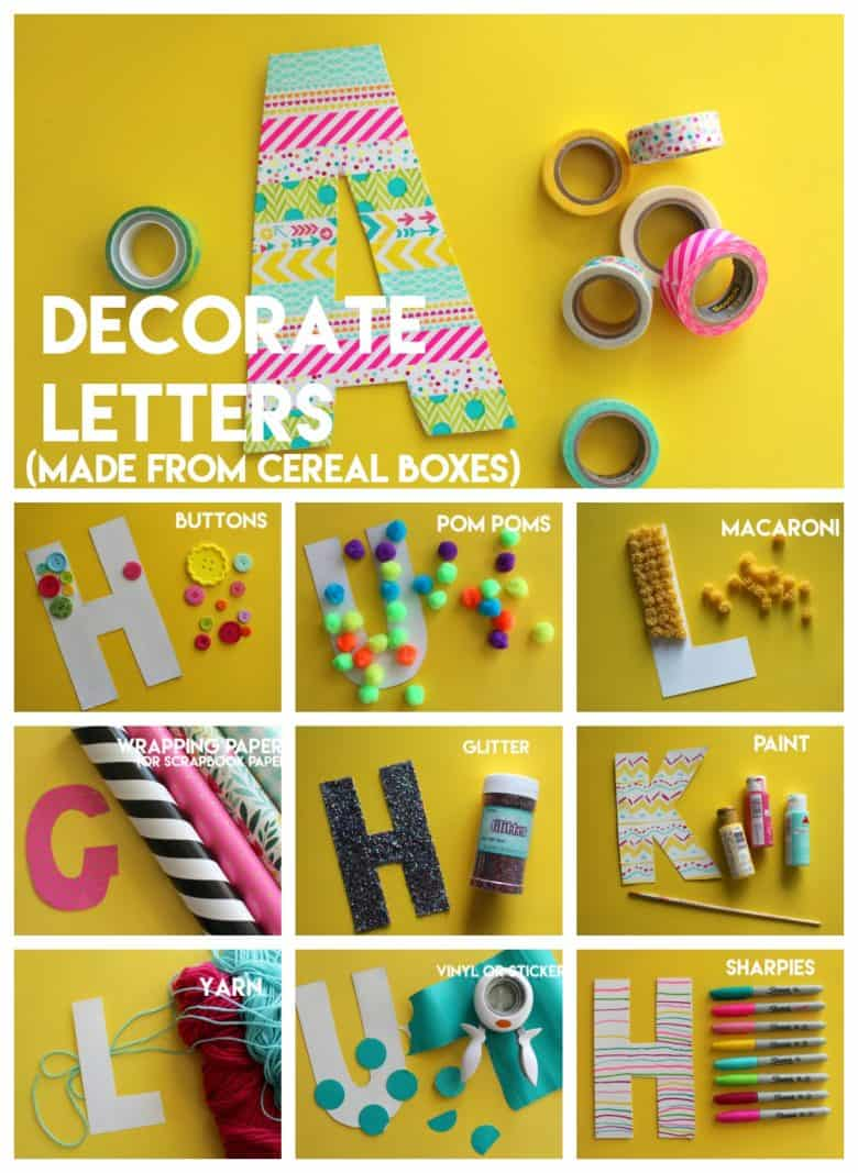 Kid Crafting Monogram Letters From Cereal Boxes A Girl And A Glue Gun