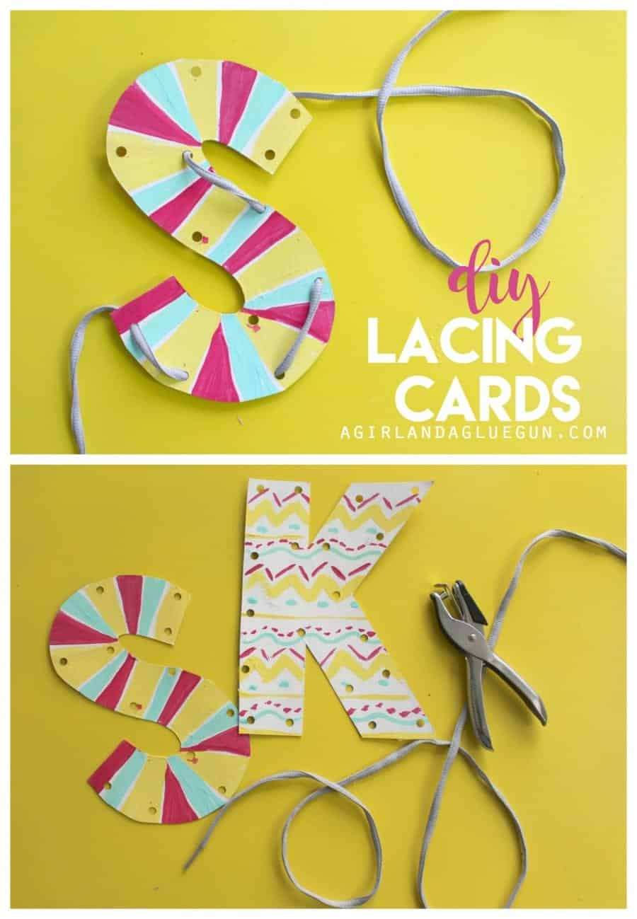 diy kid crafted lacing cards