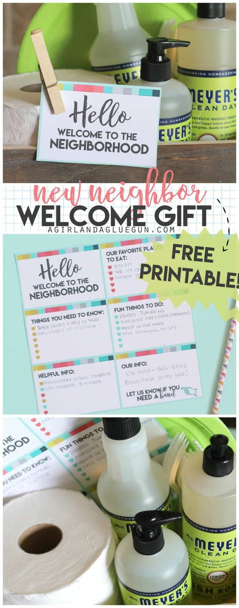 New neighbor welcome gift with printable - A girl and a glue gun
