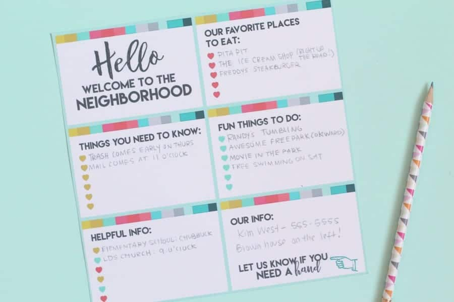 neighborhood gift printable