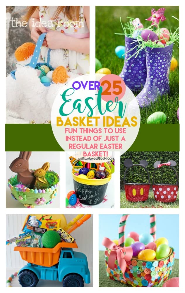 over 25 fun things to do instead of using a regular easter basket! Lots of great diy ideas! Love the umbrella one!