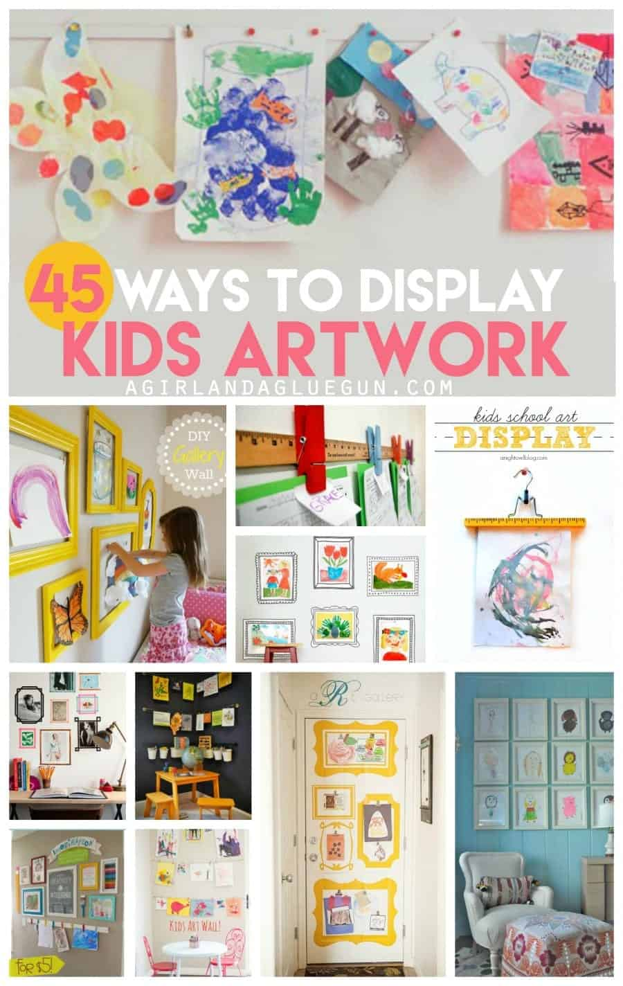 45 totally fun and unique ways to display kids artwork