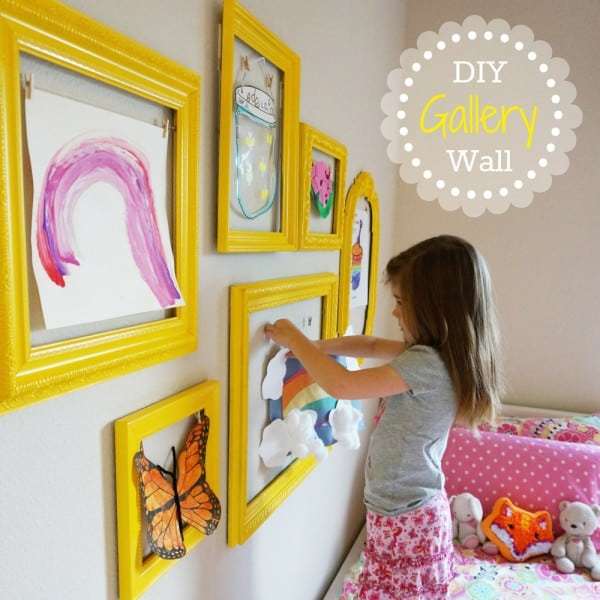 Kid\'s Art Display Ideas - A girl and a glue gun