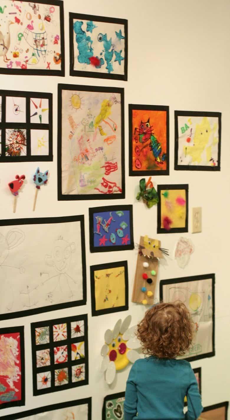 Kid\'s Art Display Ideas - A girl and a glue gun