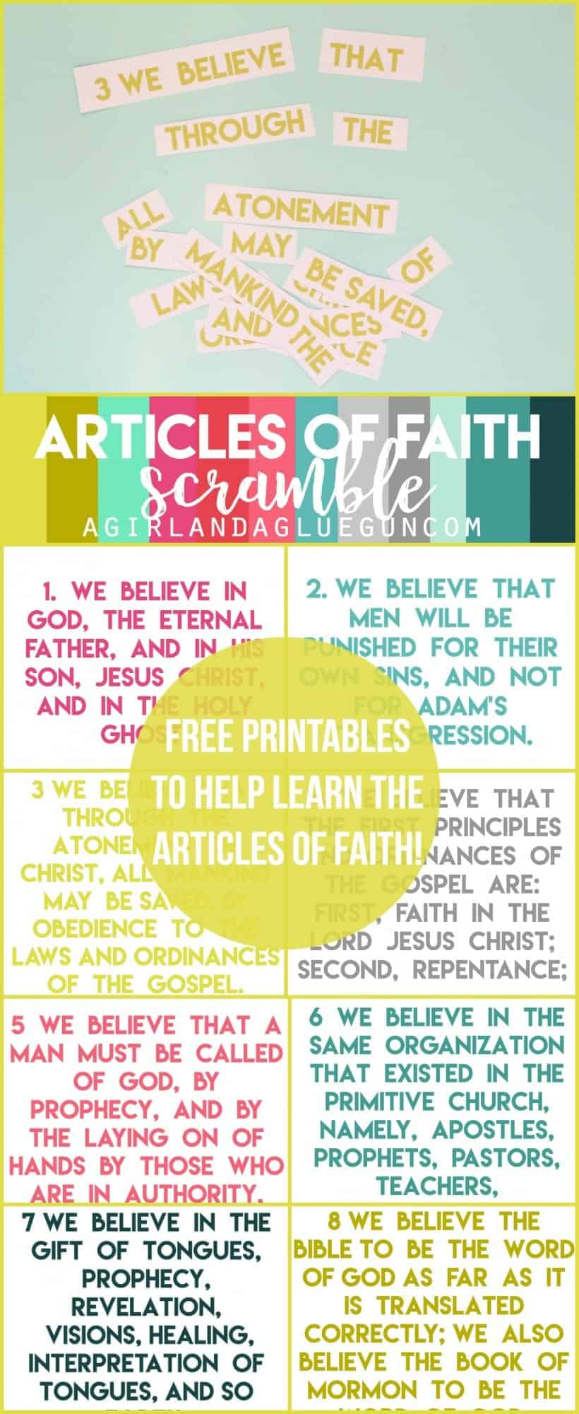 photograph about Printable Articles of Faith titled Short article of Religion Scramble - A female and a glue gun