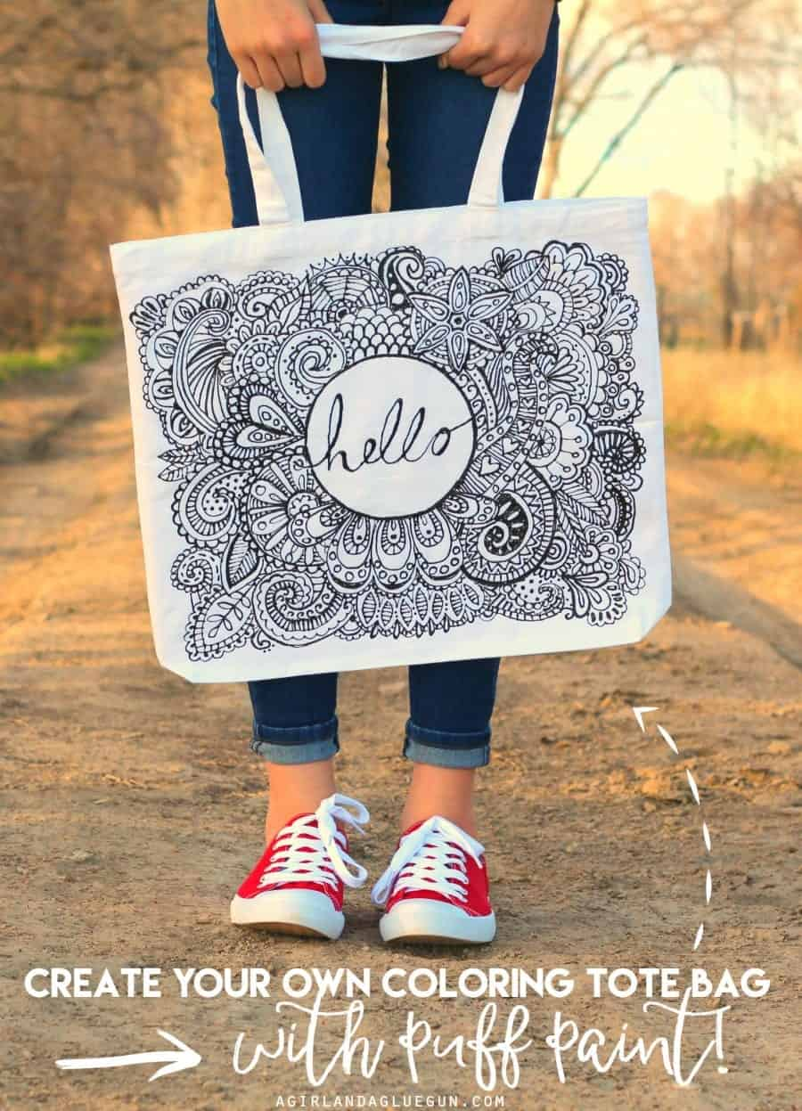 Coloring Page Tote Bag And Shirt Diy A Girl And A