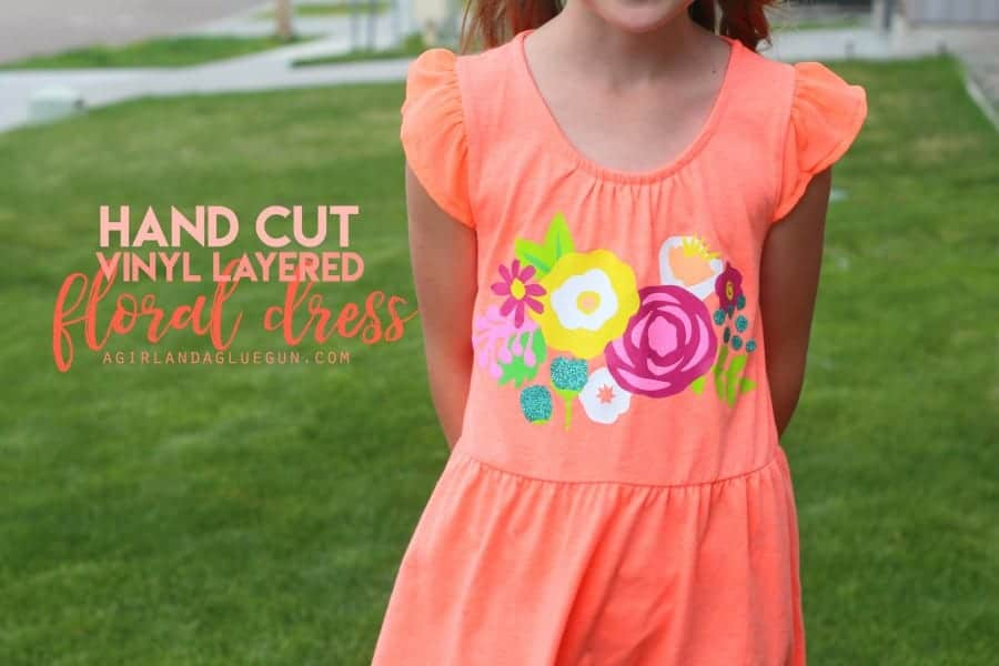hand cut vinyl layered floral dress--using expressions vinyl heat transfer