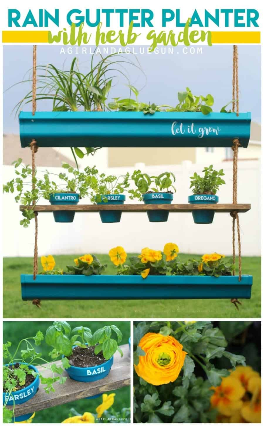 hanging rain gutter planter with herb garden