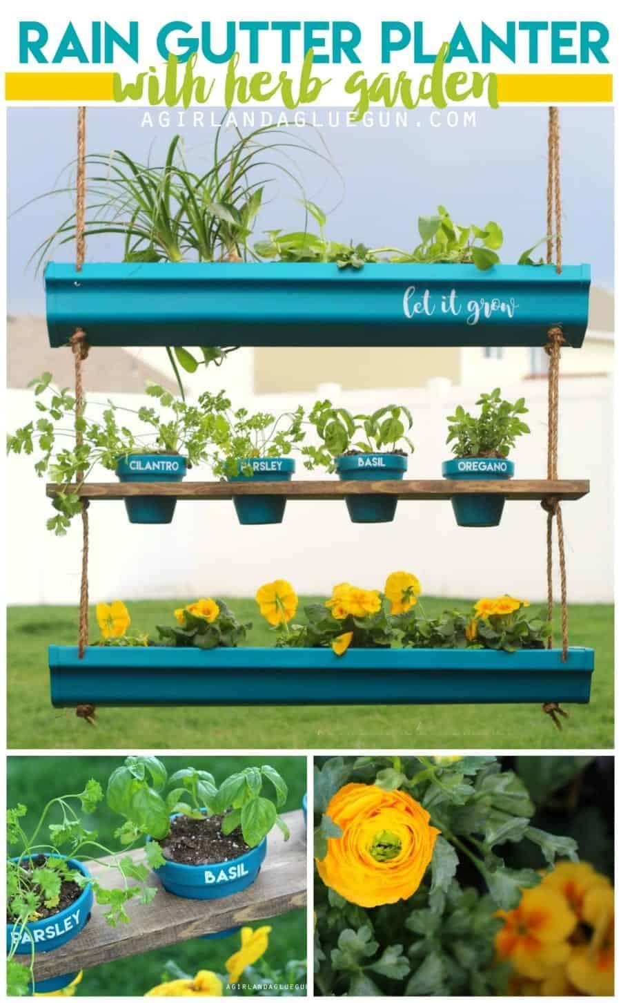 hanging rain gutter planter with herb garden