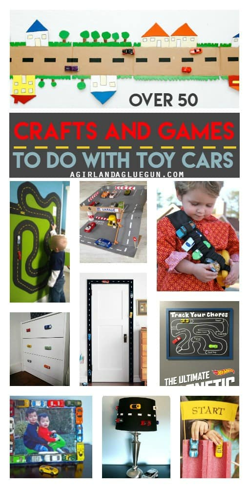 over 50 crafts and games to do with toy cars! Lots of awesome diys