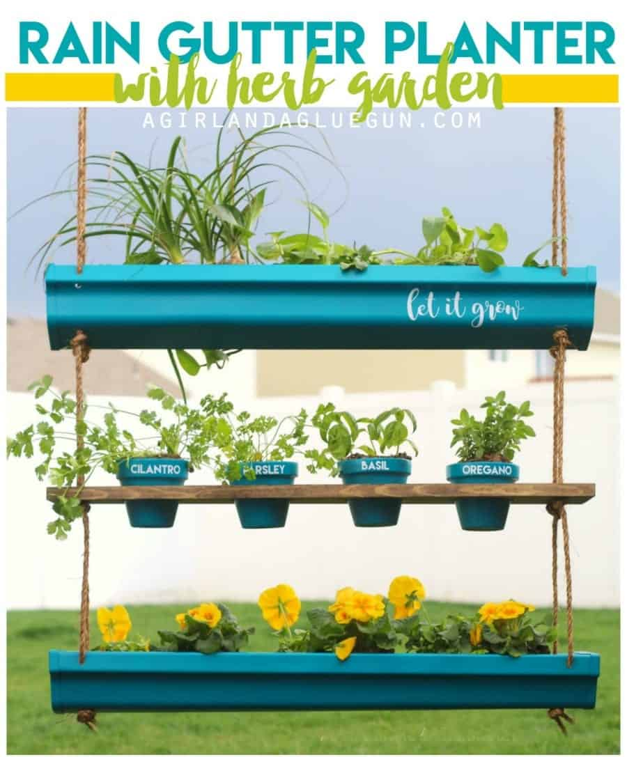 rain gutter planter with herb garden