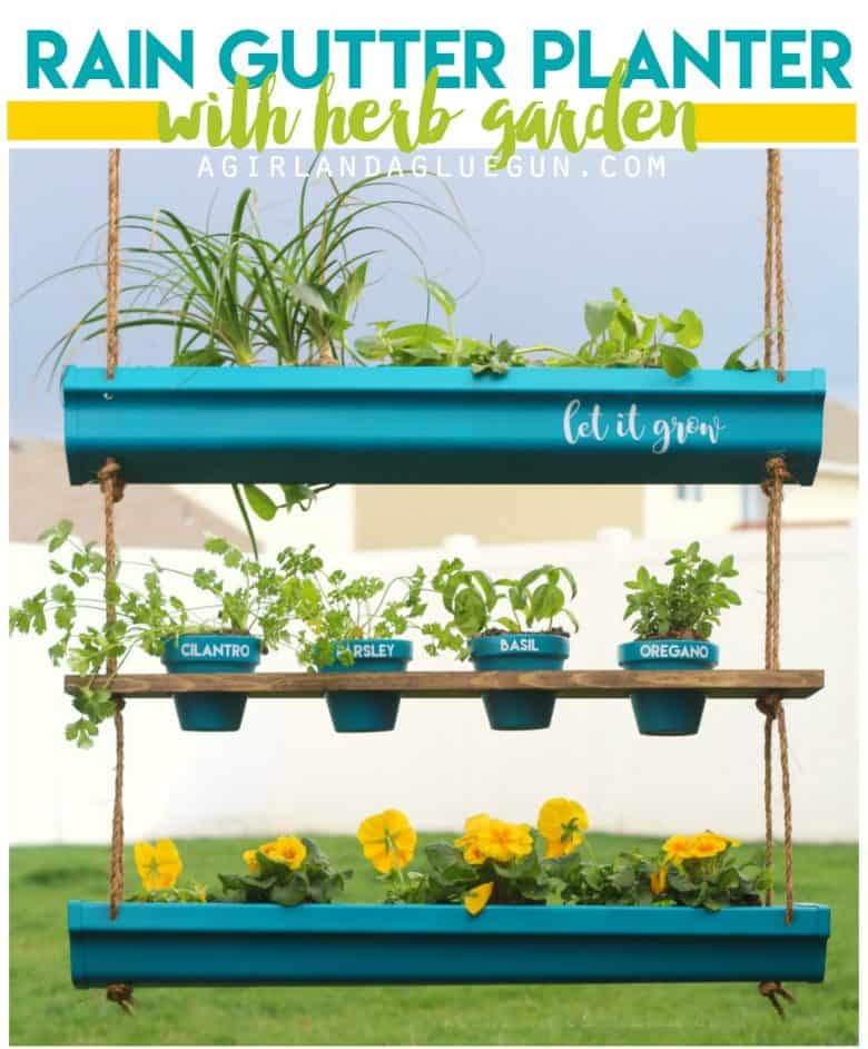 Rain Gutter planter - A girl and a glue gun