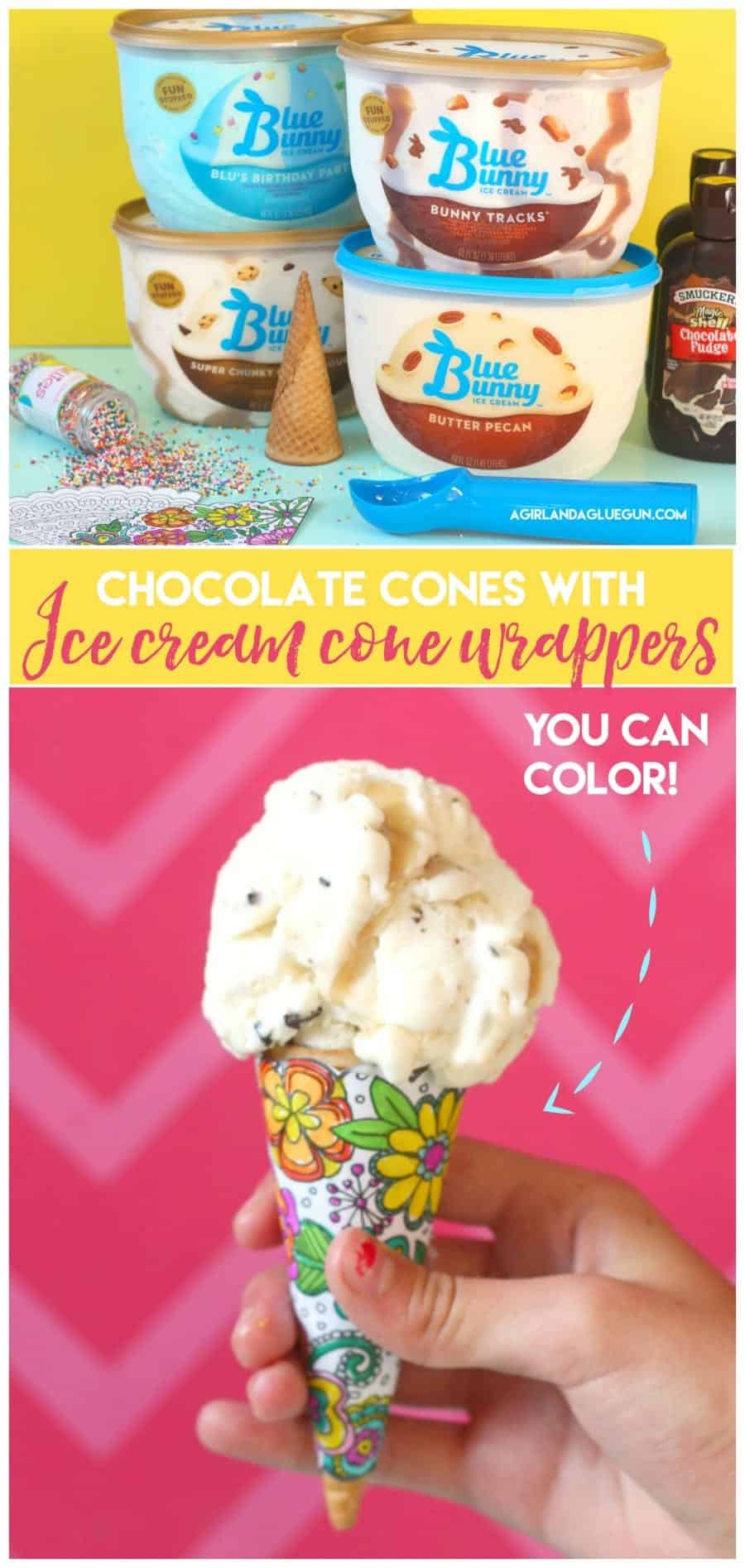 chocolate cones with ice cream cone wrappers that you can color!