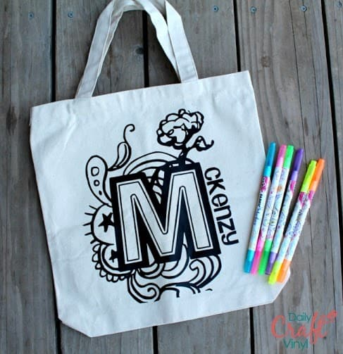 color in tote with iron on vinyl