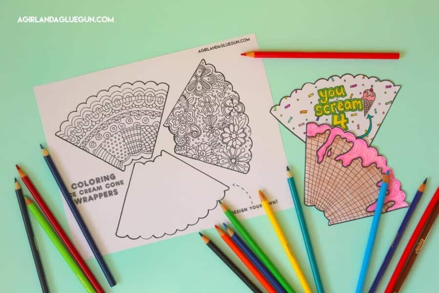 coloring ice cream wrappers