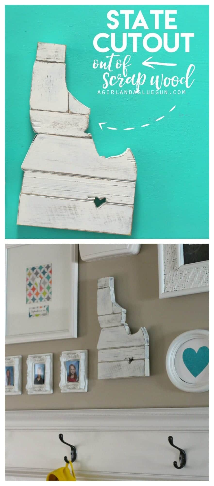 easy and fun girls night craft--state cutout of of scrap wood