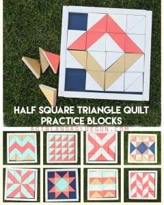 Half square triangle quilt practice blocks