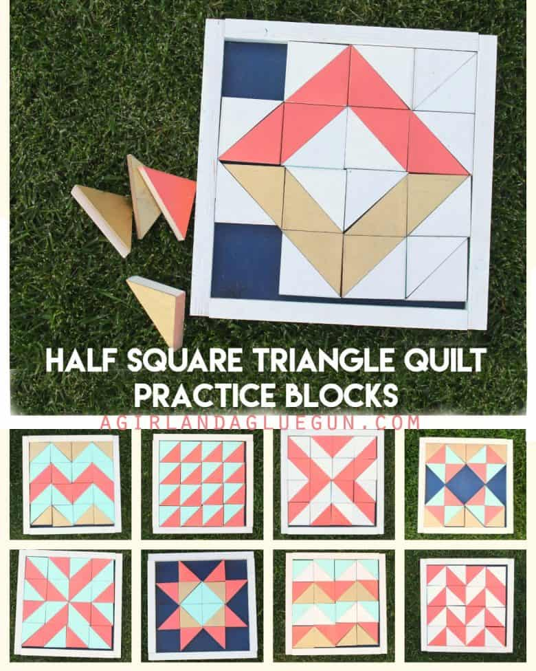 Half Square Triangle Quilt Practice Blocks A Girl And A Glue Gun