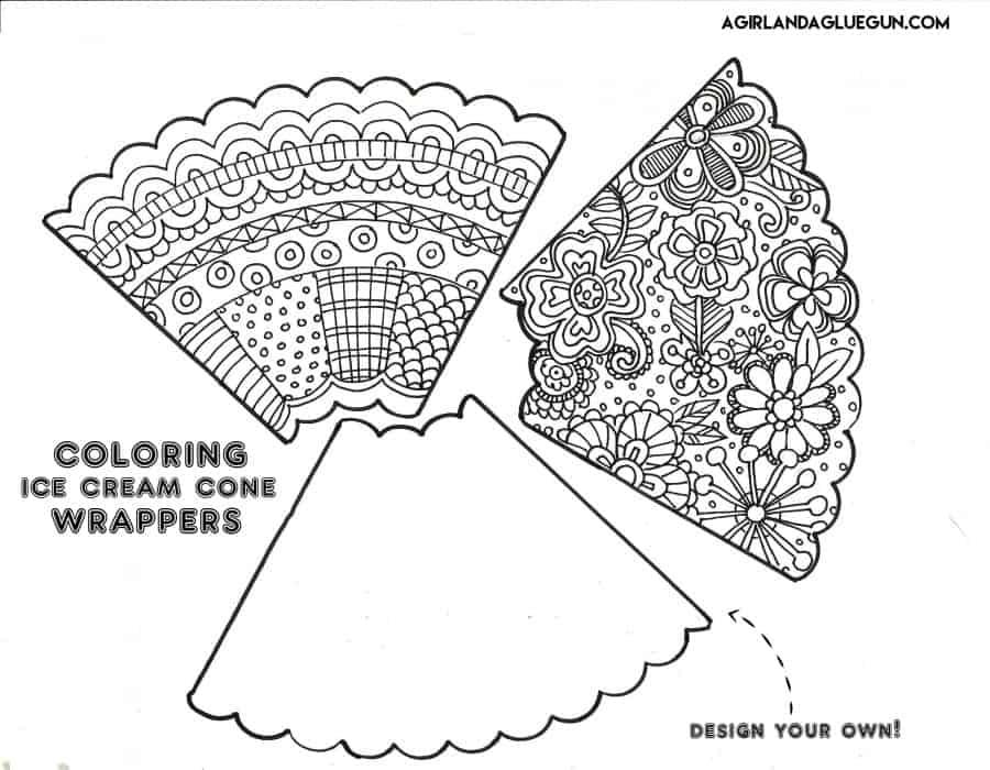 fun coloring ice cream cone wrappers