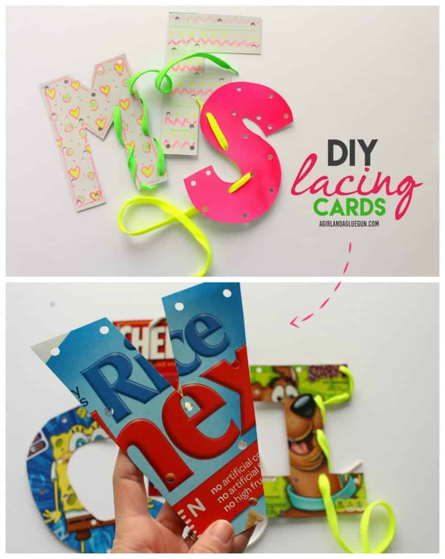 fun kids crafts--letter lacing diy cards great upcycle