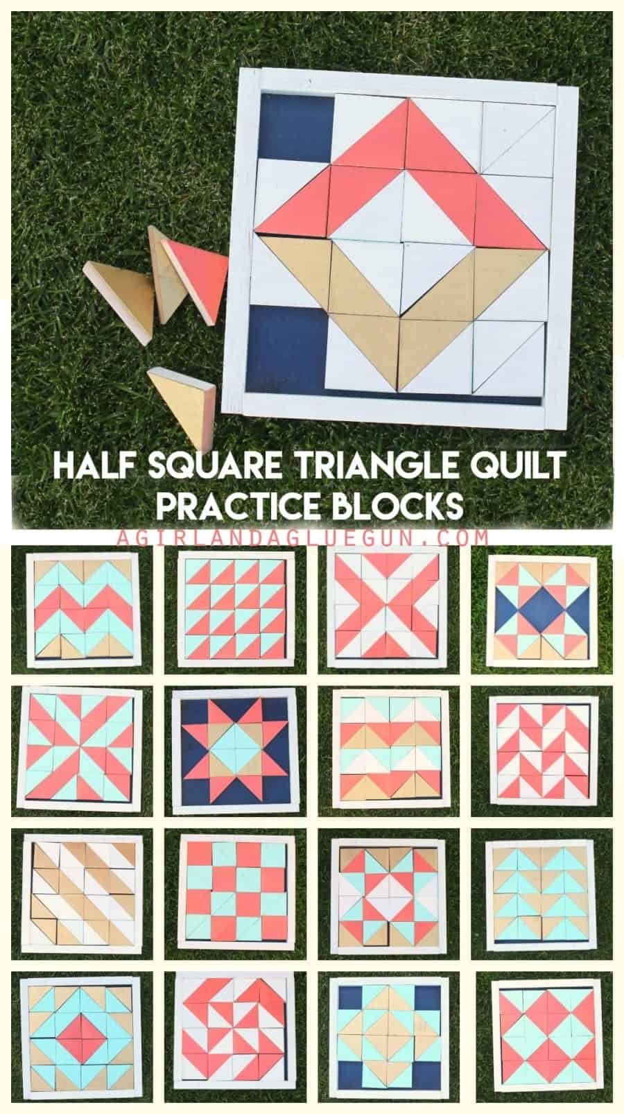 half square triangle quilt practice blocks