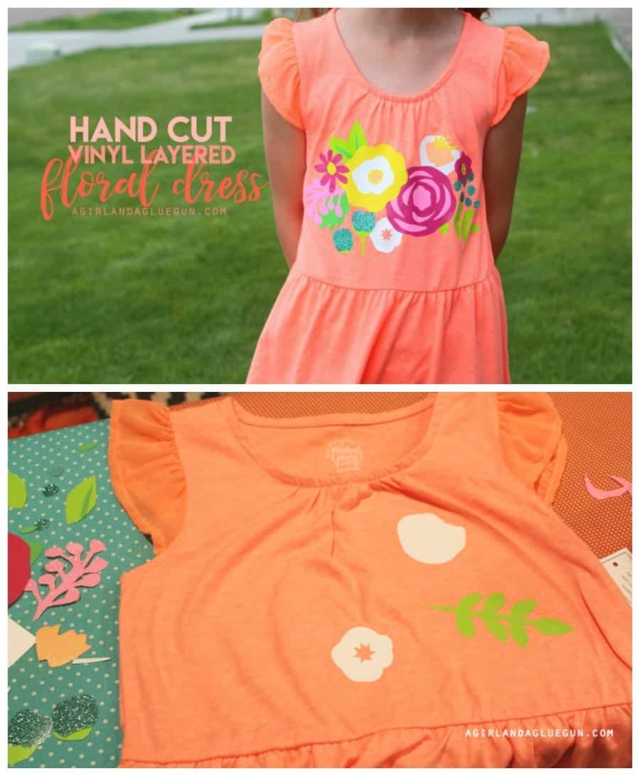 hand cut vinyl layered floral dress--using expressions vinyl
