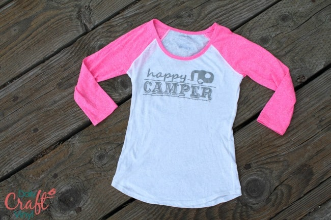 heat transfer machine --happy camper shirt