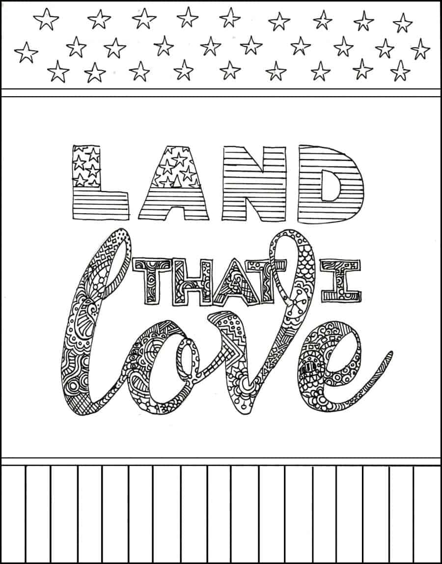 Effortless image regarding patriotic printable coloring pages