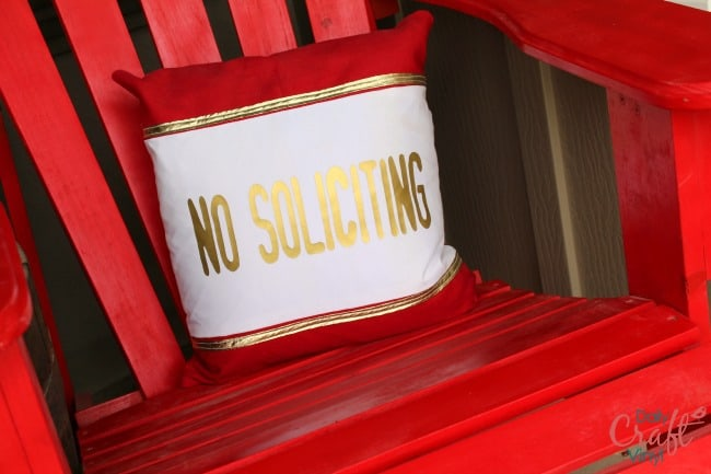 no soliciting sign iron on vinyl in gold