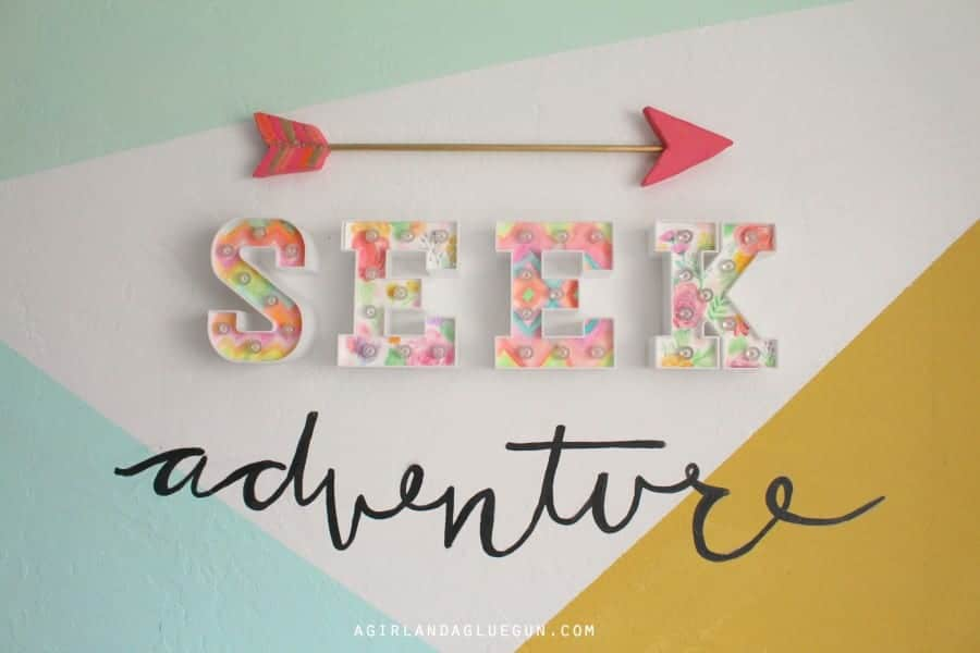 seek adventure sign with heidi swapp letters