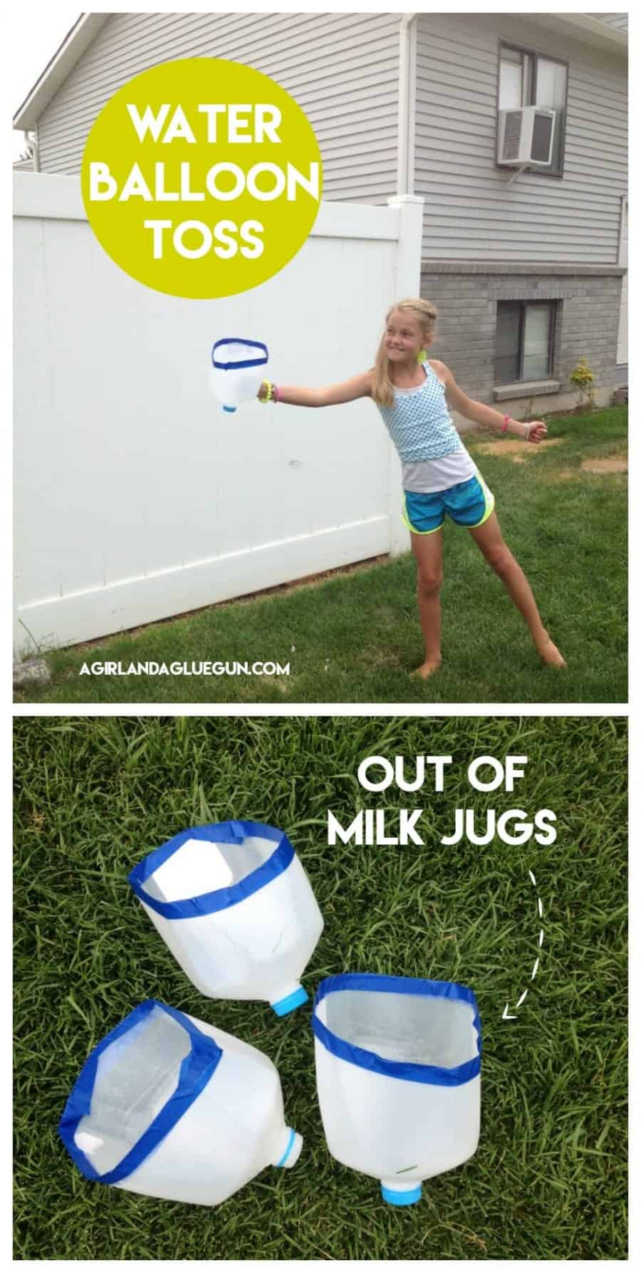 water balloon toss out of milk jugs